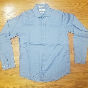 Calvin klein  sateen blue button down shirt